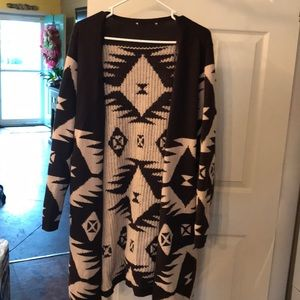Long brown Aztec sweater from NYCO